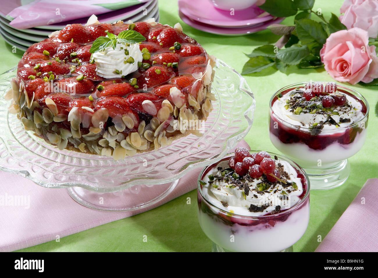 Erdbeer Torte Quark Creme Rote Brei Essen Stillleben Kuchen Kuchen