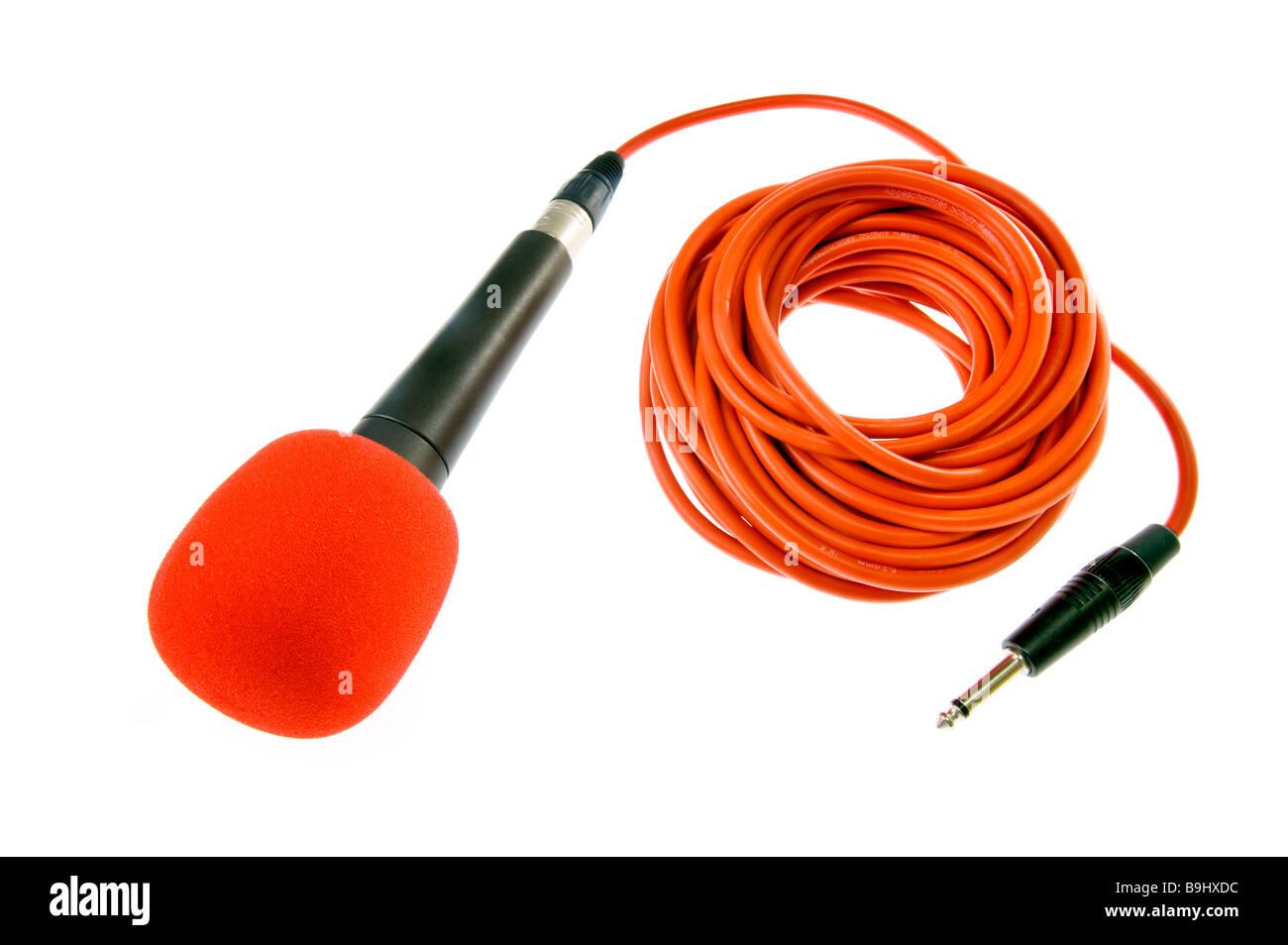 Mikrofon micro Mike mic Mikrophone mit roten Draht Kabel Streifen ...