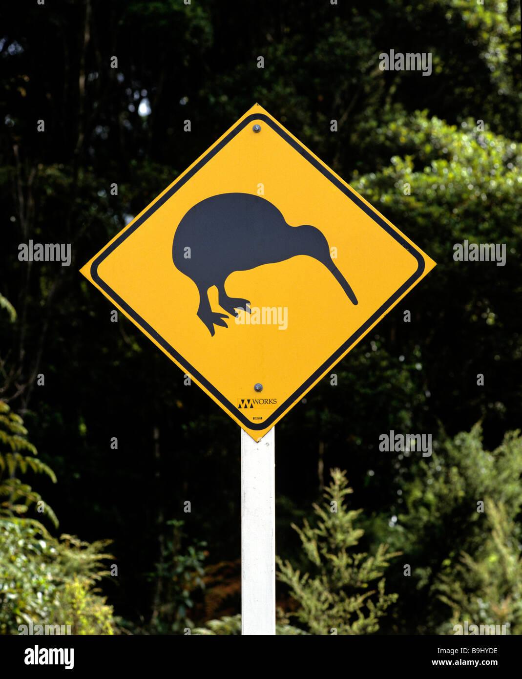 Kiwi-Schilder, Straßenschild, Neuseeland Stockbild