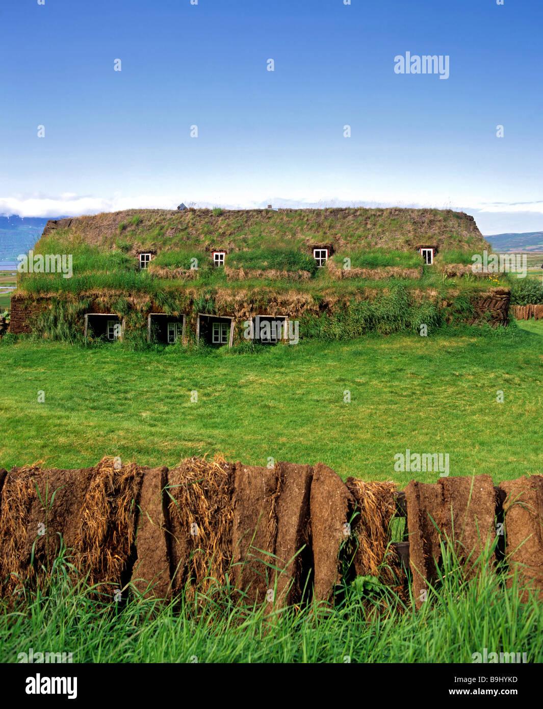 SOD Häuser, Häuser, Rasen Museum, Laufás, Island Stockbild