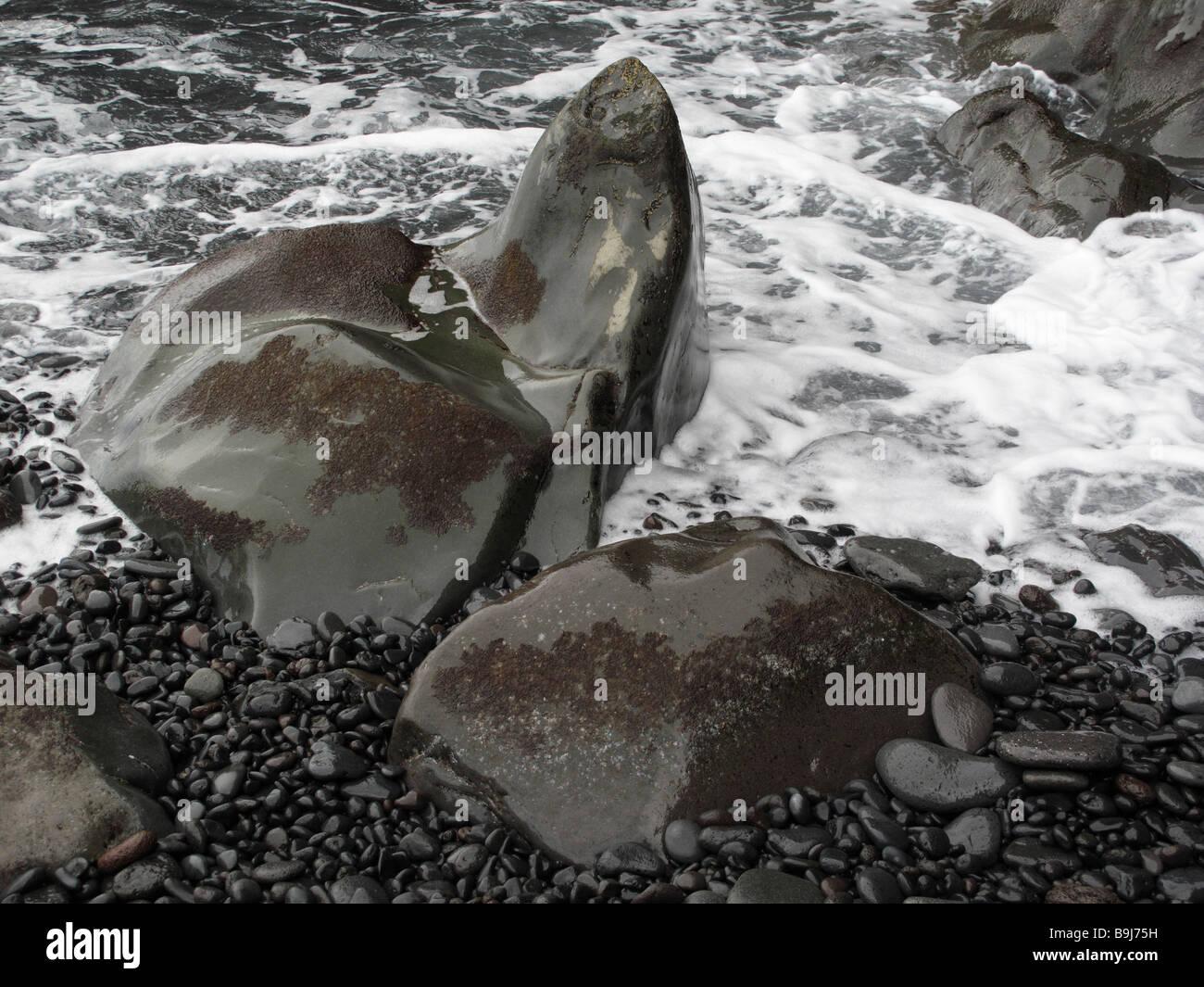 Felsformation, Playa del Medio in der Nähe von Playa Santiago, La Gomera, Kanarische Inseln, Spanien, Europa Stockbild