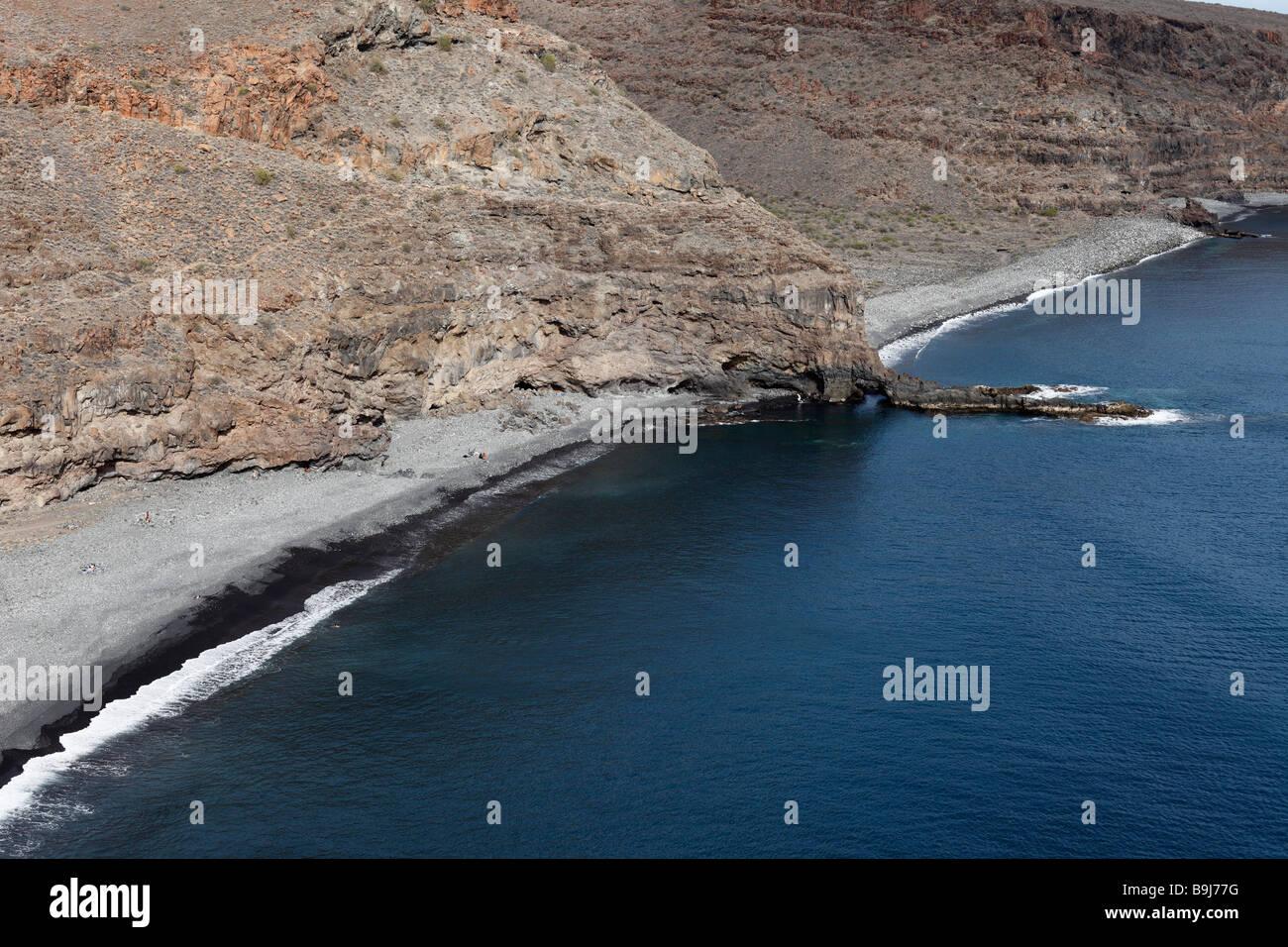 Playa del Medio und Playa de Chinguarime in der Nähe von Playa Santiago, La Gomera, Kanarische Inseln, Spanien, Stockbild