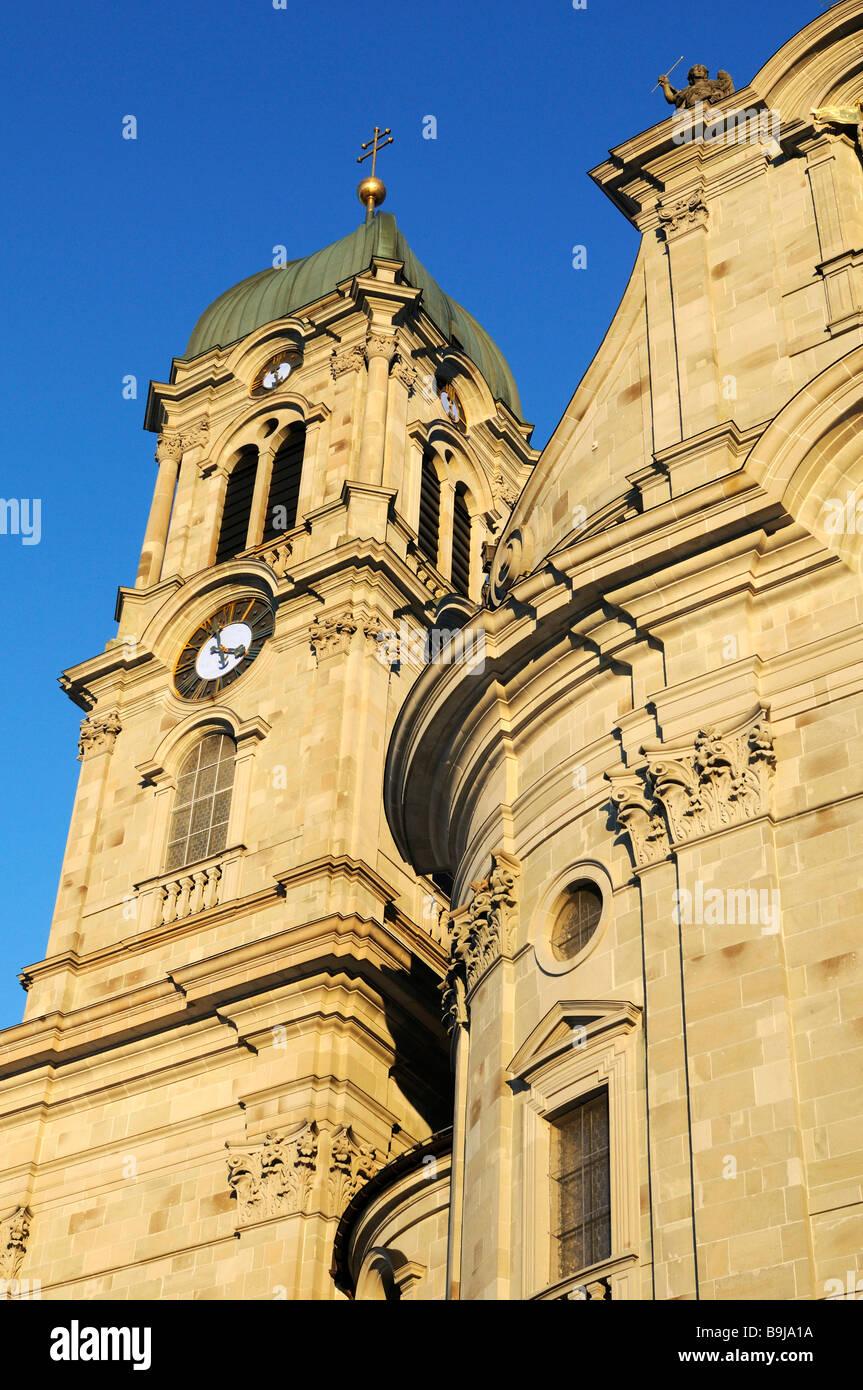 Detailansicht des Münsters, Einsiedeln, Kanton Schwyz, Schweiz, Europa Stockbild