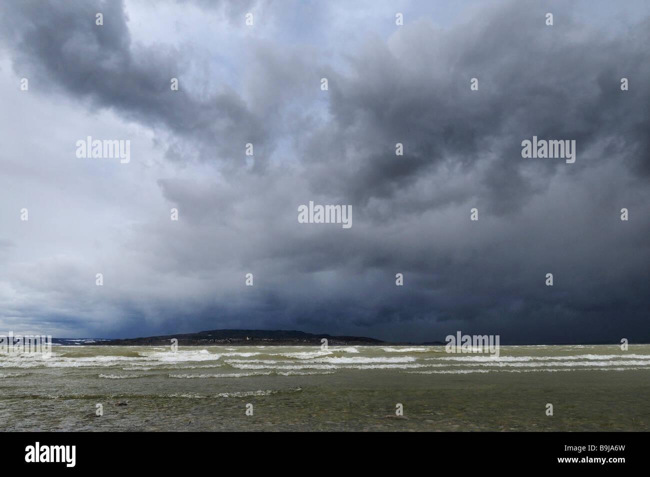 Orkan Quinten über dem Bodensee, Landkreis Konstanz, Baden-Württemberg, Deutschland, Europa Stockbild