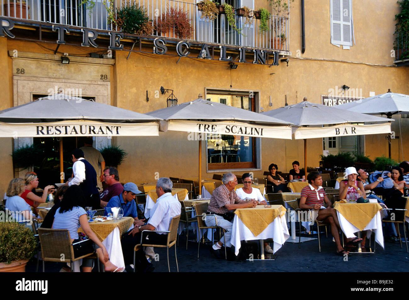 Bar Cafe Restaurant Terrasse Auf Dem Piazza Navona Platz Im