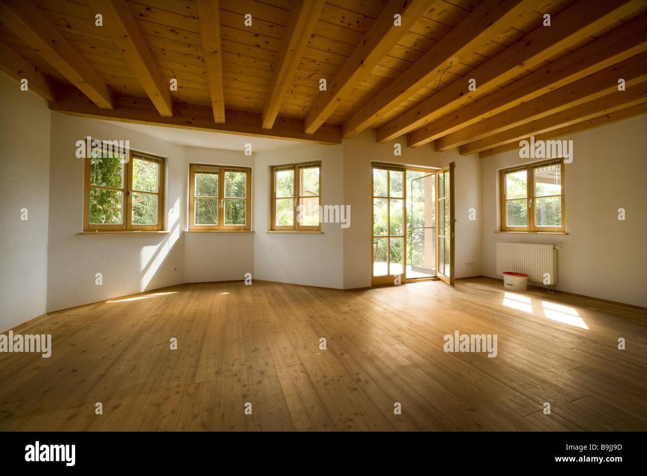 Wohnzimmer Leer Terrassentür Offen Wiederaufbau Wiederaufbau Wohnung