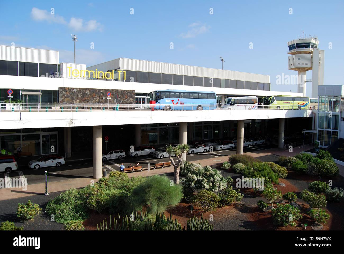Terminal 1 außen, Flughafen Arrecife, Arrecife, Lanzarote, Kanarische Inseln, Spanien Stockbild