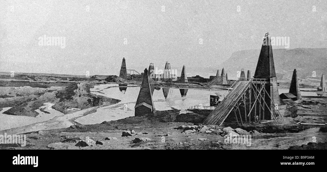 Ölfeld der Firma Gebrüder Nobel im Bibi Eibat Bezirk in der Nähe von Baku Stockbild