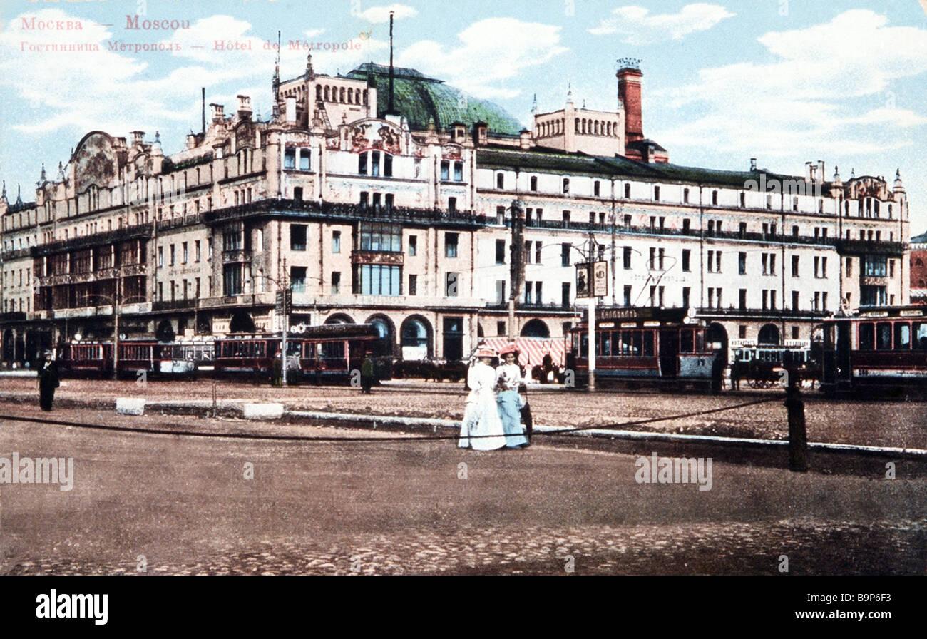 Hotel Metropol in Moskau war ein Beispiel für moderne Architektur des Hotels im Jahre 1906 nach dem Entwurf Stockbild