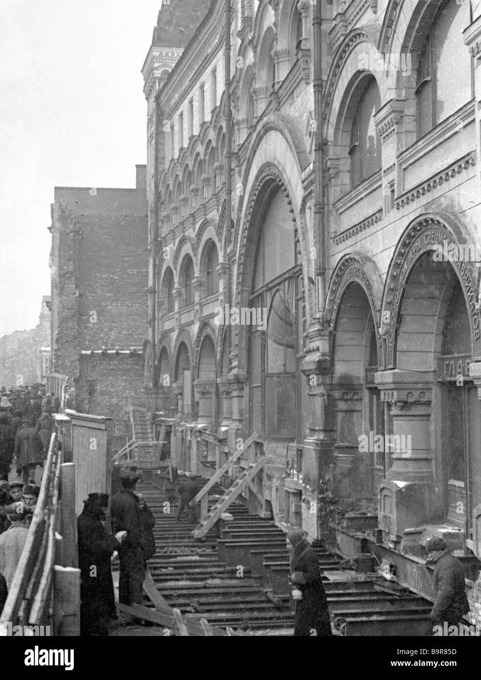 Rekonstruktion des Gorki-Straße in Moskau Stockbild