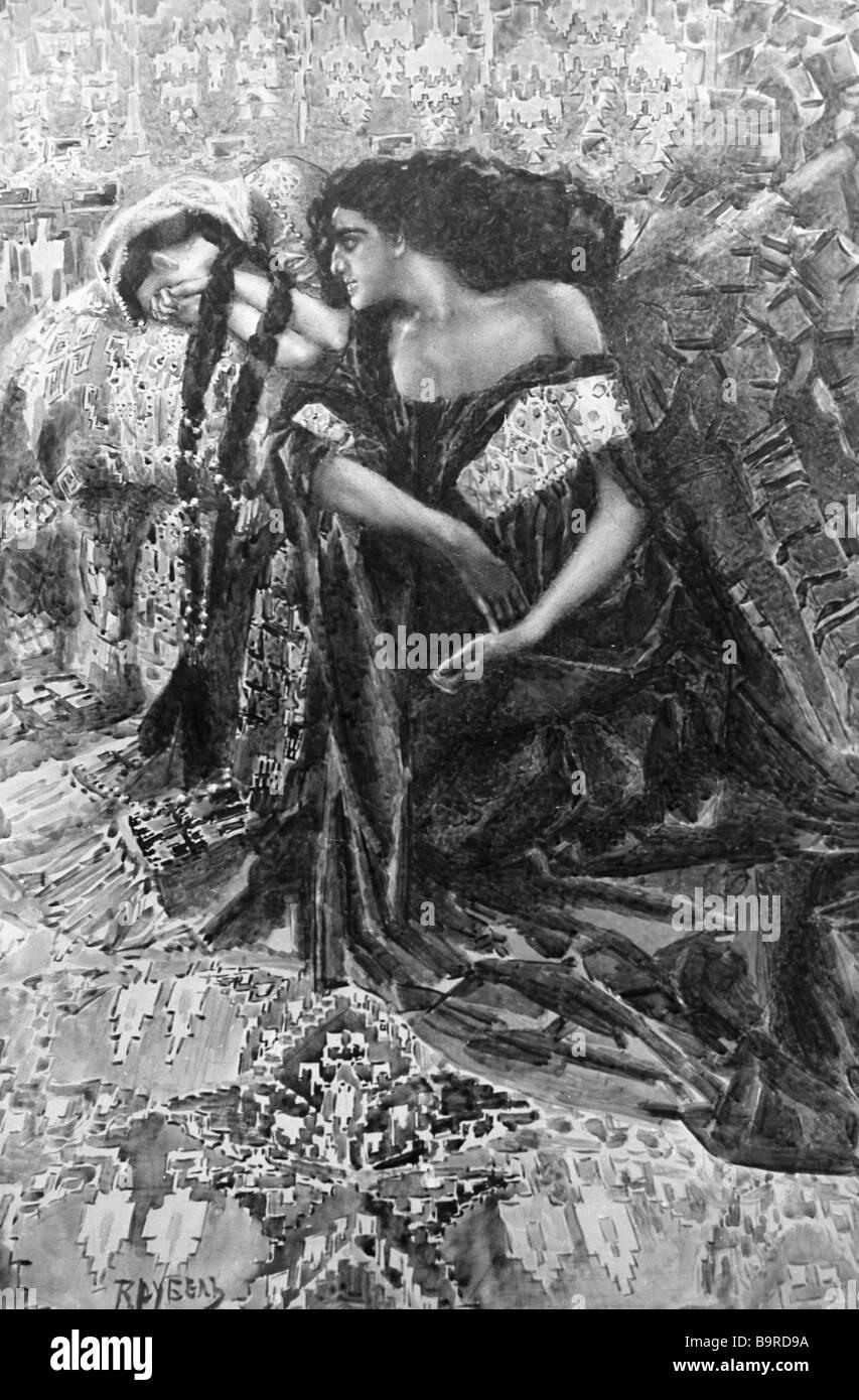 Eine Replikation einer Zeichnung von Mikhail Vrubel, Mikhail Lermontov Gedicht The Demon Stockbild