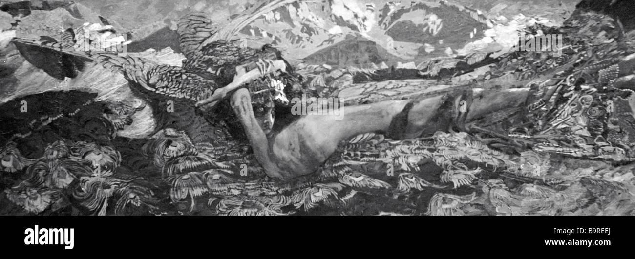 Mikhail Vrubel s Malerei Dämon besiegt Öl auf Leinwand 1902 aus der Sammlung der staatlichen Tretjakow Stockbild