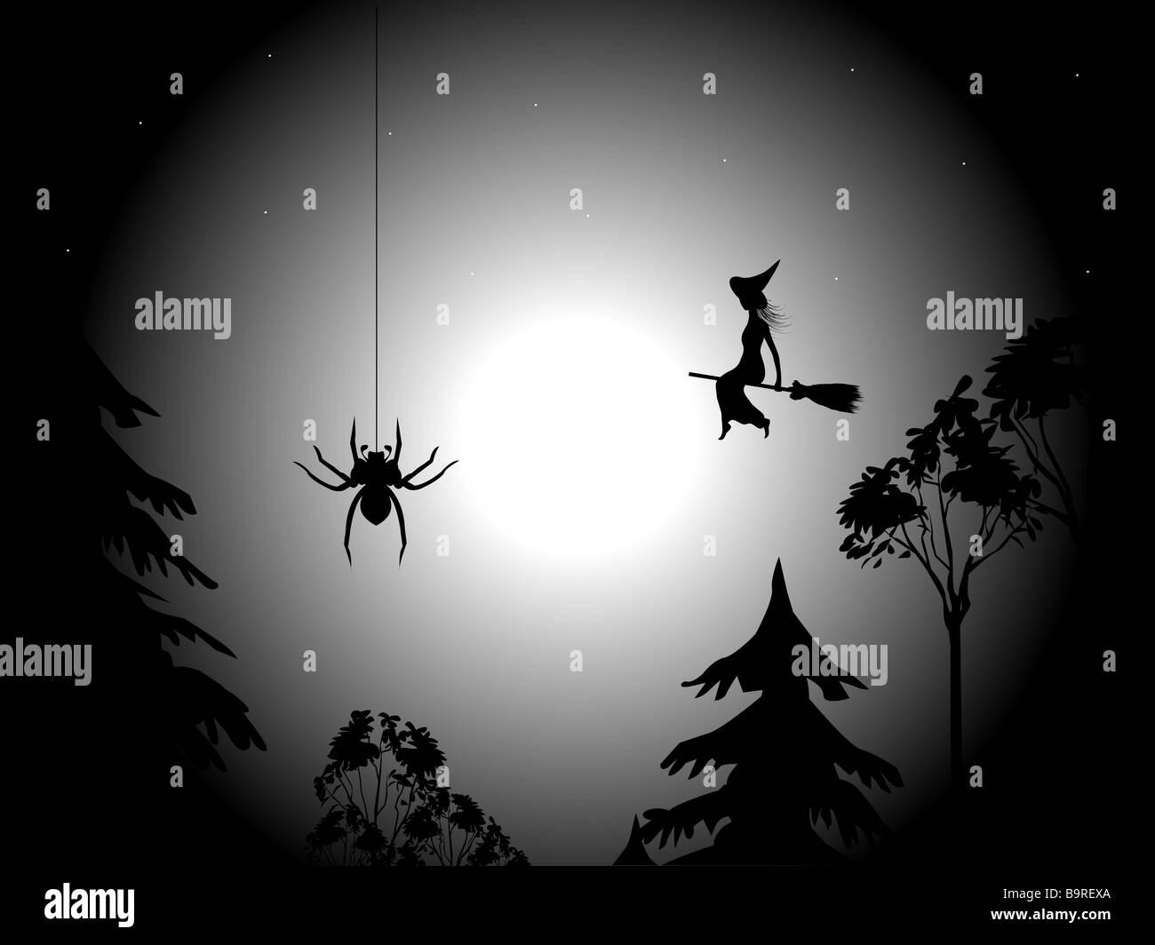 Eine fliegende Hexe auf einem Hintergrund der Mond den Sternenhimmel und die Wipfel der Bäume Stockbild
