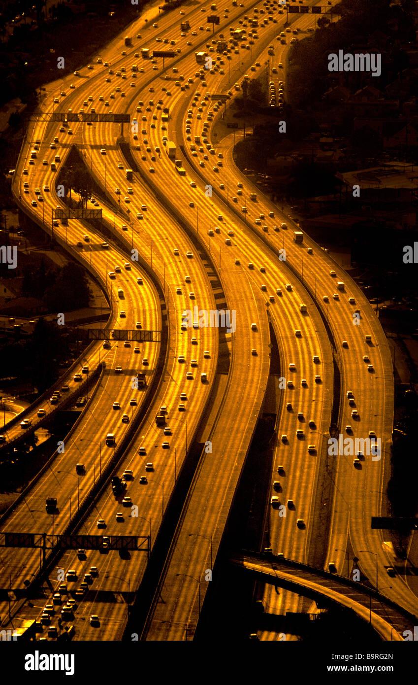 Luftaufnahme von Autobahnen, Los Angeles, Kalifornien. Stockfoto