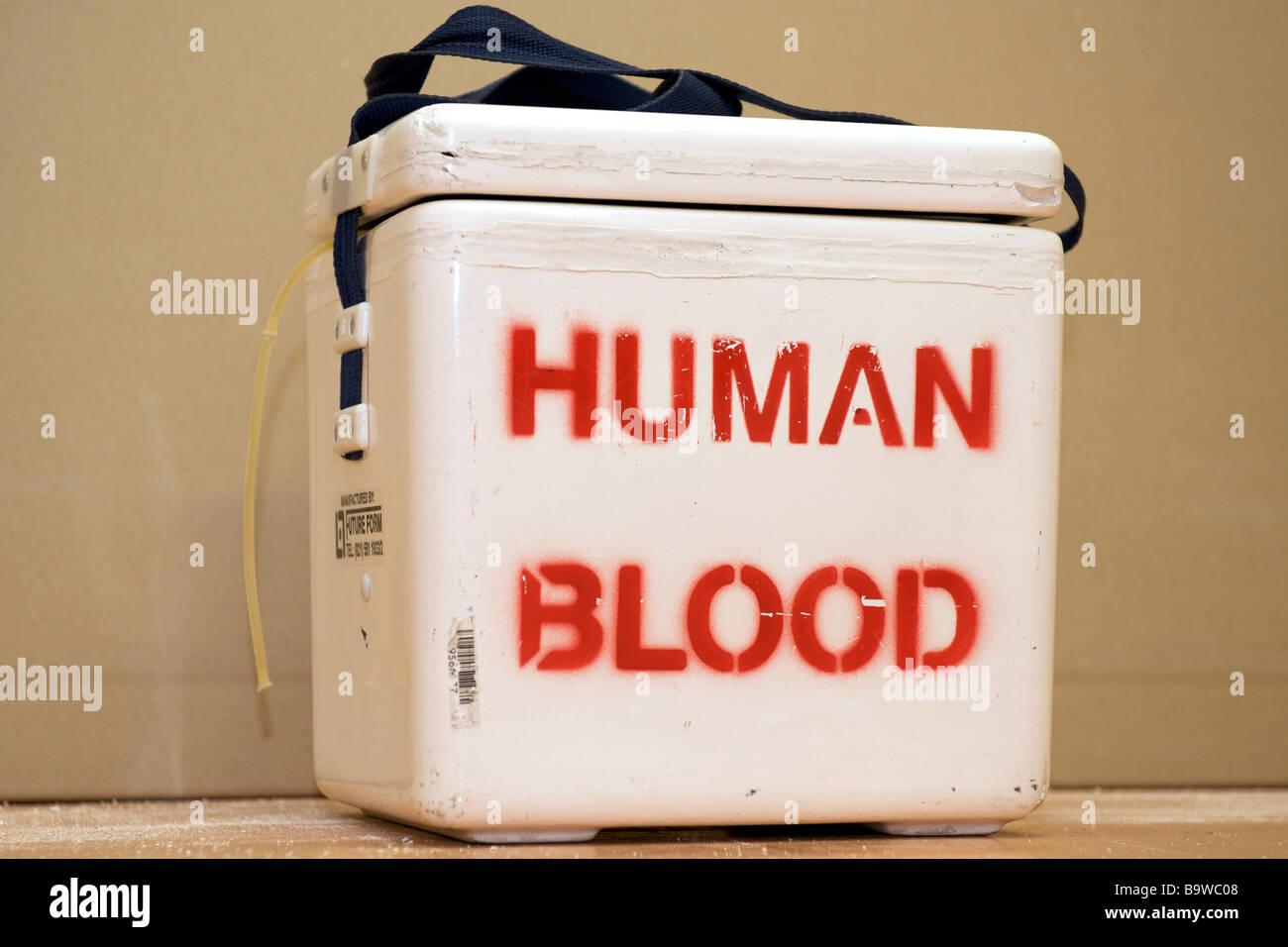Container für menschliches Blut. Stockbild