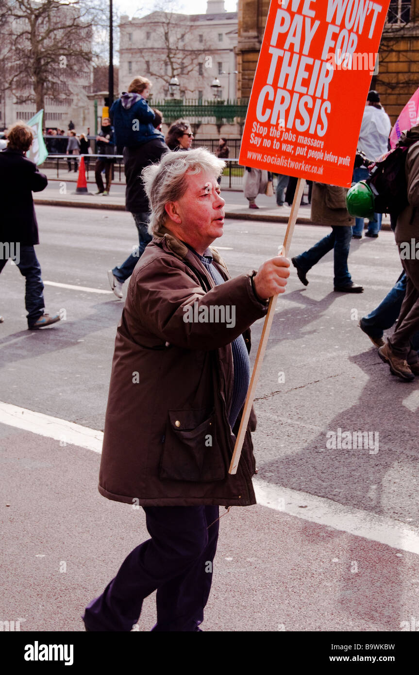 Demonstrant bei People First legte protest Stockbild