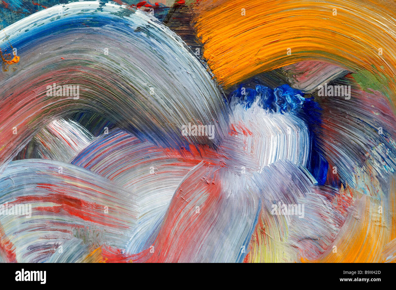 Extreme Nahaufnahme von Pinsel Striche - Farben laufen - Handwerk Stockfoto