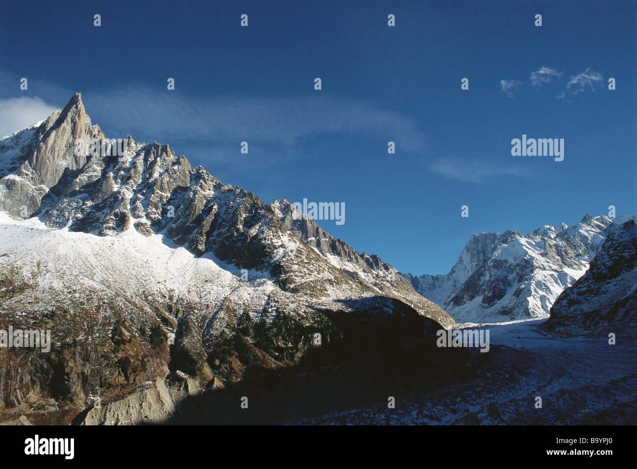 Mont-Blanc-Massiv, schneebedeckte Berge in den Alpen Stockbild