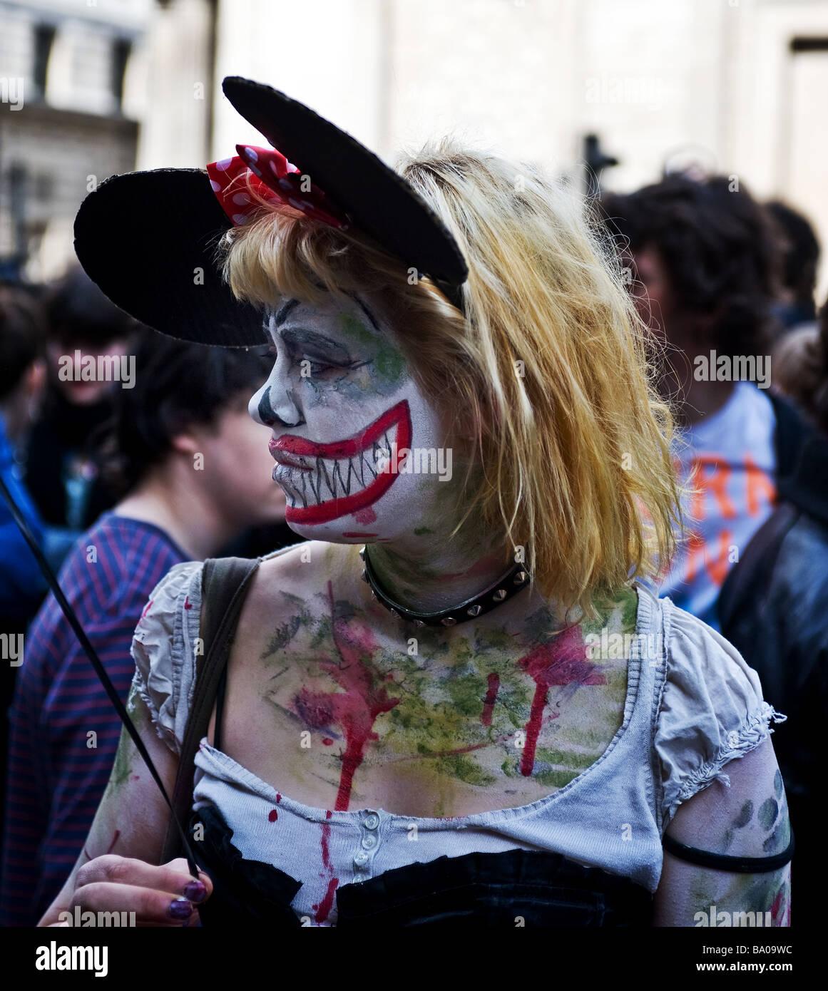 Demonstrant auf der G20-Demonstration in der City of London.  Foto von Gordon Scammell Stockbild