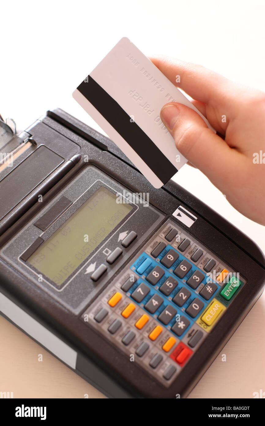 Kreditkarte Maschine hautnah Stockbild