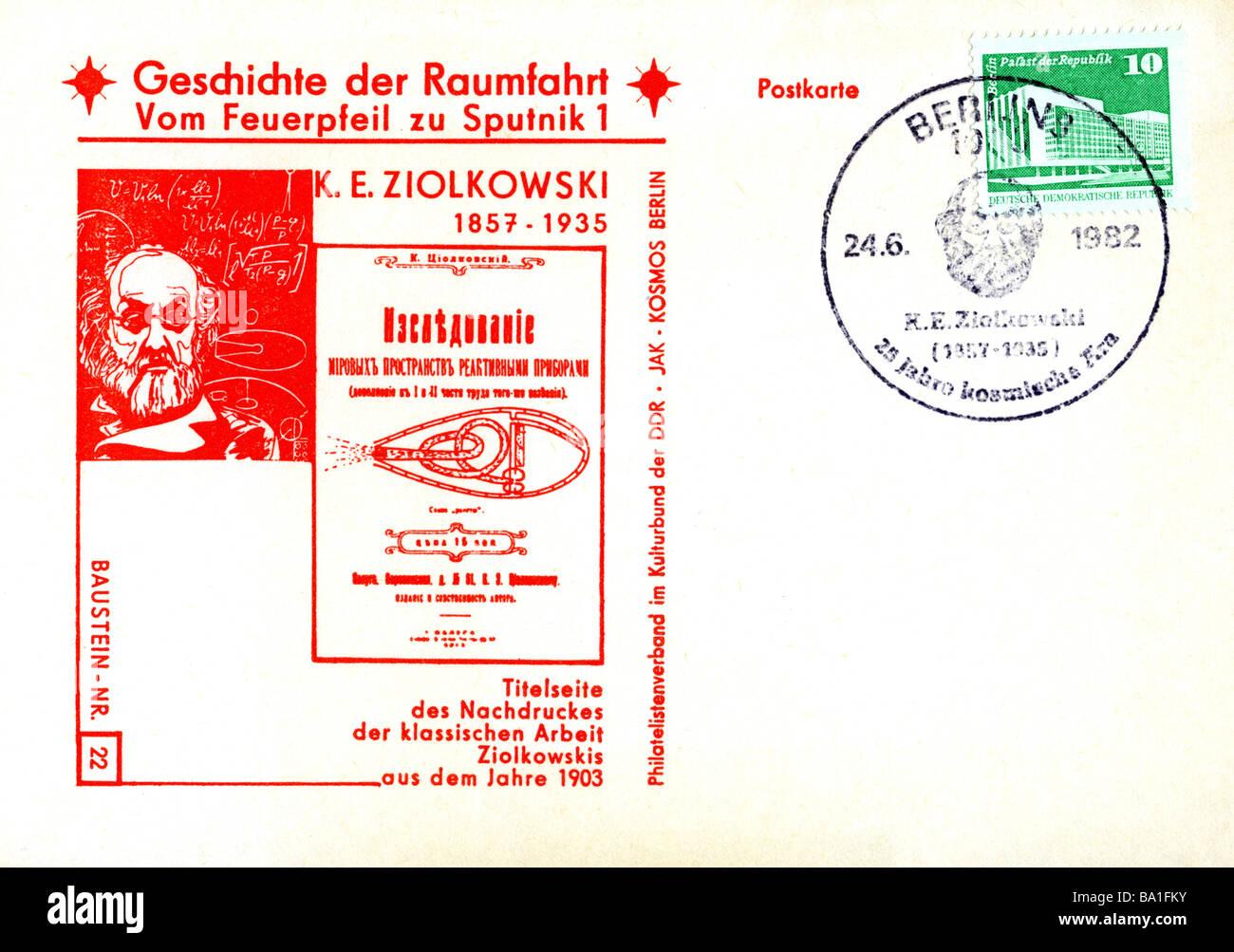 Ziolkowski, Konstantin Eduardowitsch, 17.9.1857 - 19.9.1935, russischer Arzt, Postkarte, Deutsche Demokratische Stockfoto