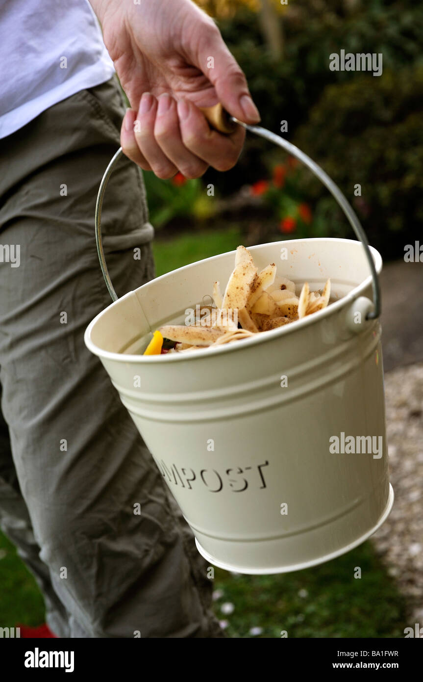 Frau Kompost herausnehmen Stockbild