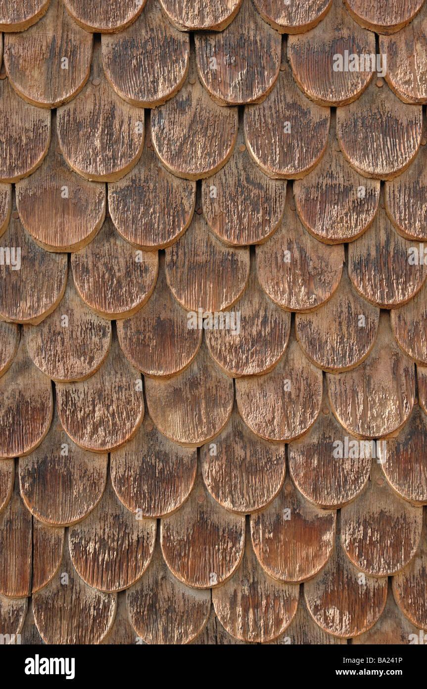 Holz Fliesen An Der Wand Einer Berghutte Im Alpinen Dorf Saas Fee