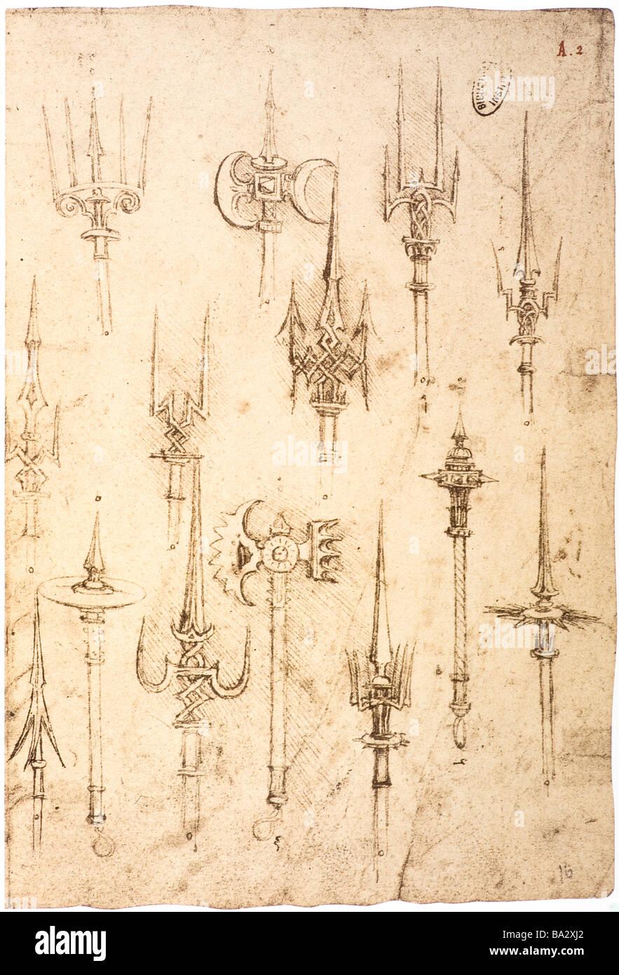 Studie von Hellebarden von Leonardo da Vinci 1487-1490 Feder und Tinte Stockbild