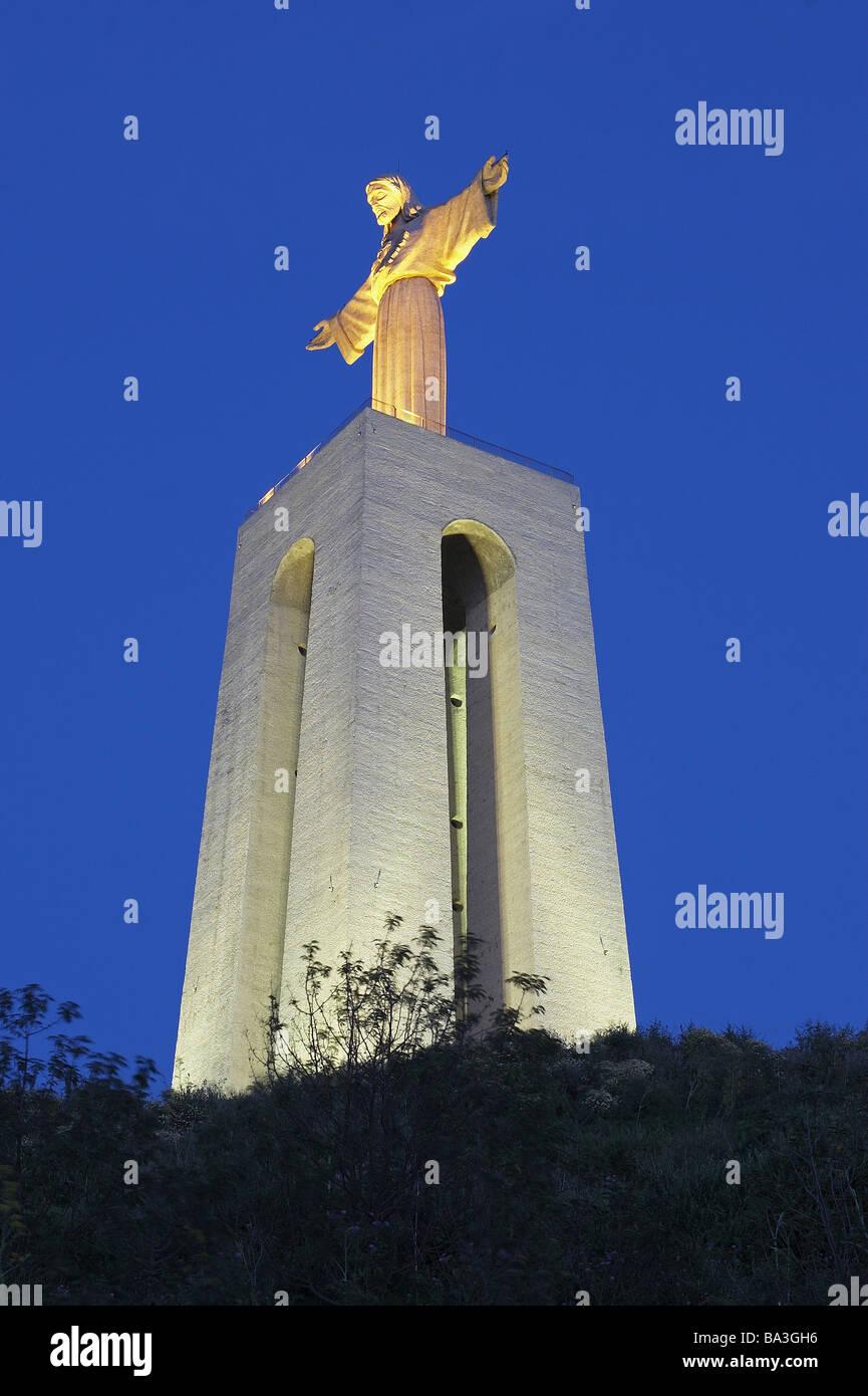 Portugal-Almada Kirche Cristo Rei-Tower Jesus-Statue-Beleuchtung-Abend-Serie Europa Westeuropa iberischen Halbinsel Stockbild