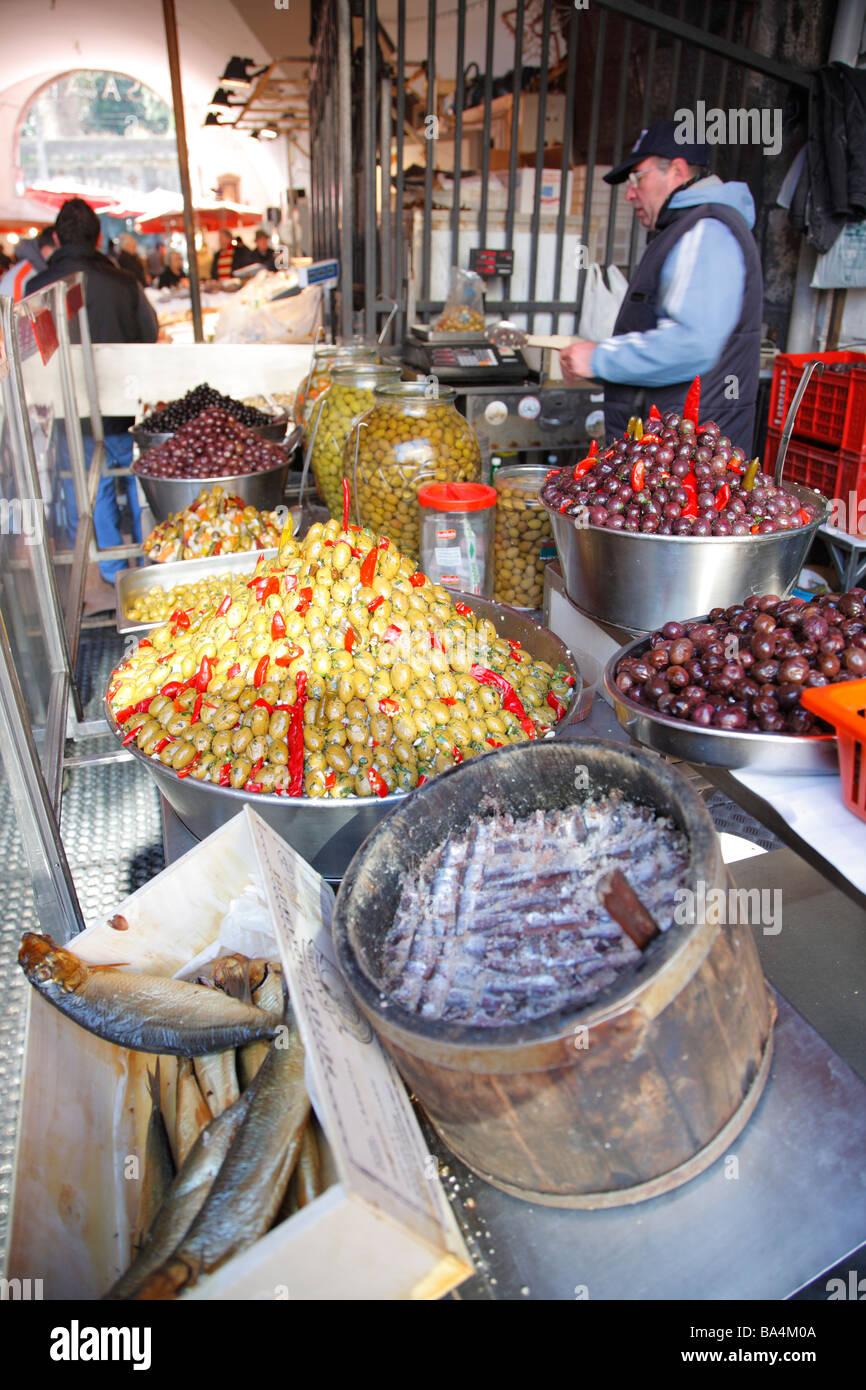 Markt, Domplatz, Catania, Sizilien, Italien Stockbild