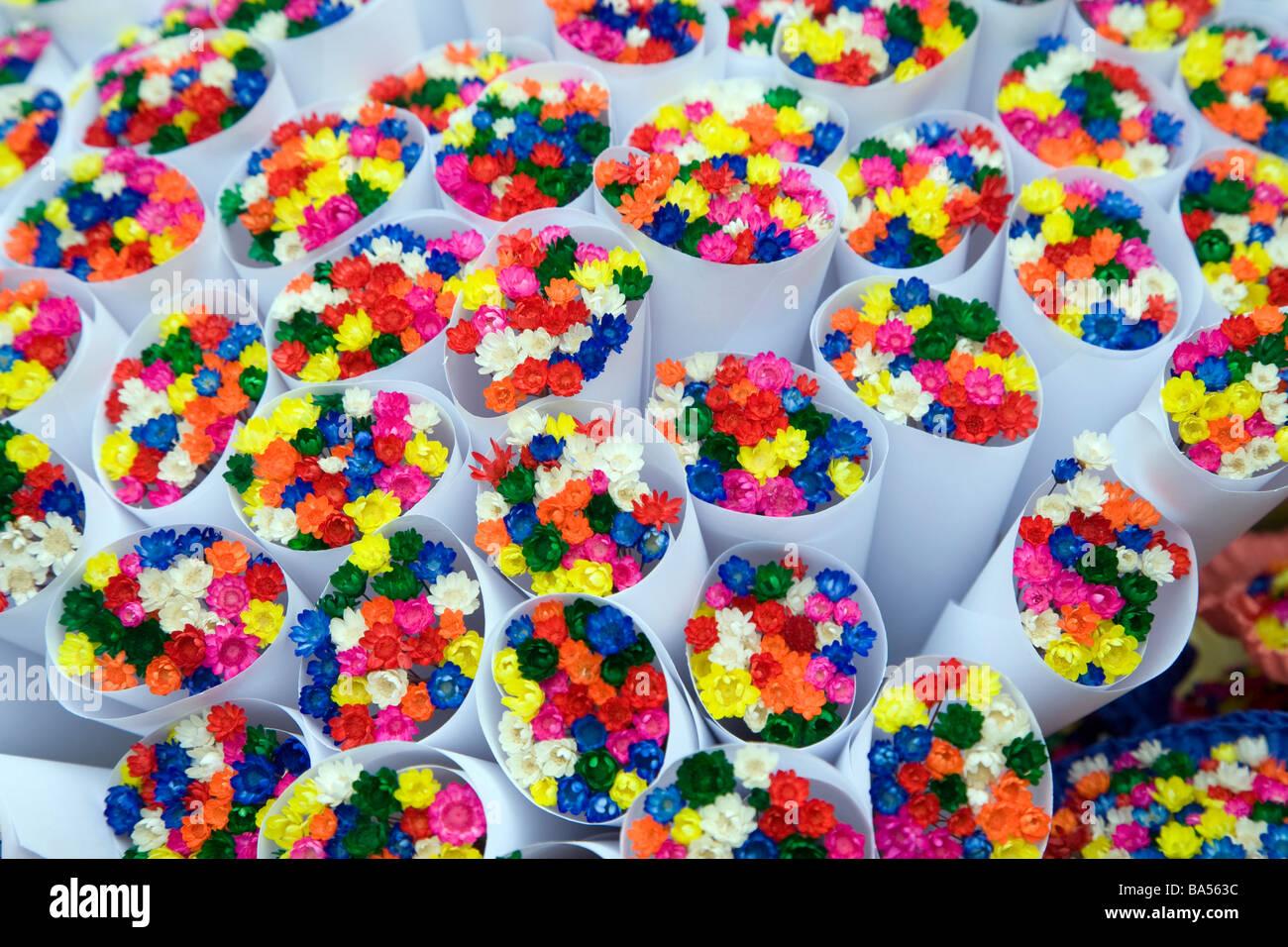 Bries Blume Blumensträuße Mercat la Boqueria Las Ramblas Barcelona Spanien Stockbild