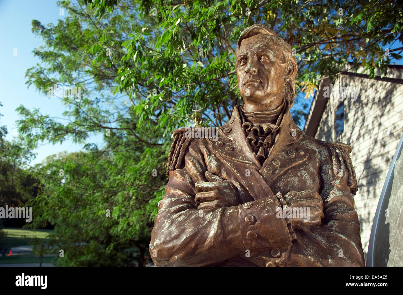 Statue von George Rogers Clark in Locust Grove in Louisville, Kentucky Stockbild