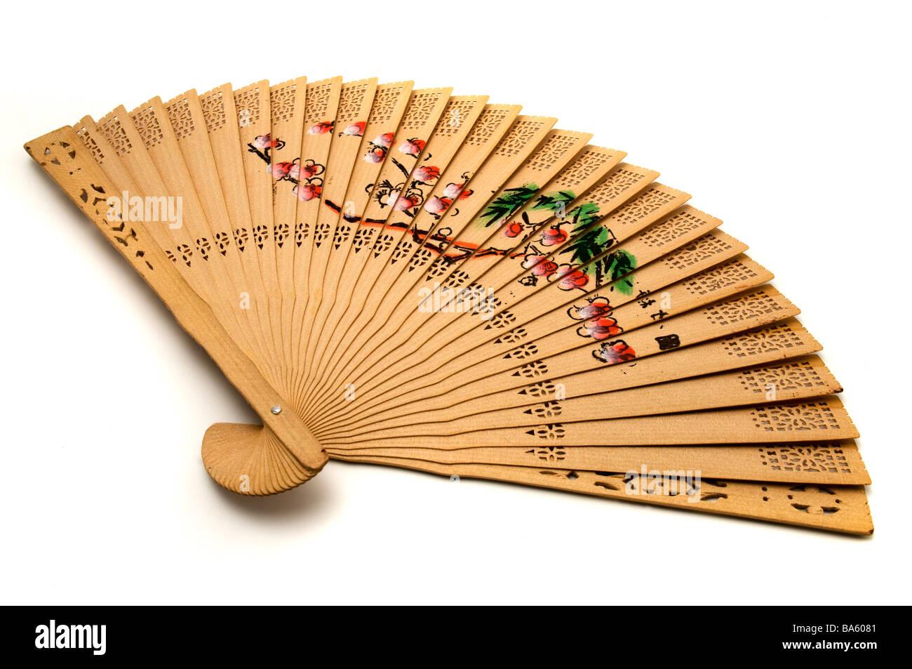 Chinesische statt Handfächer auf weißem Hintergrund Stockbild