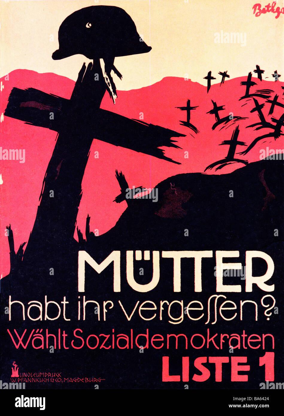 Habt Ihr das 1924 anti-Krieg-Wahlplakat für die Sozialdemokratische Partei Mutter hast du vergessen, Mutter Stockbild