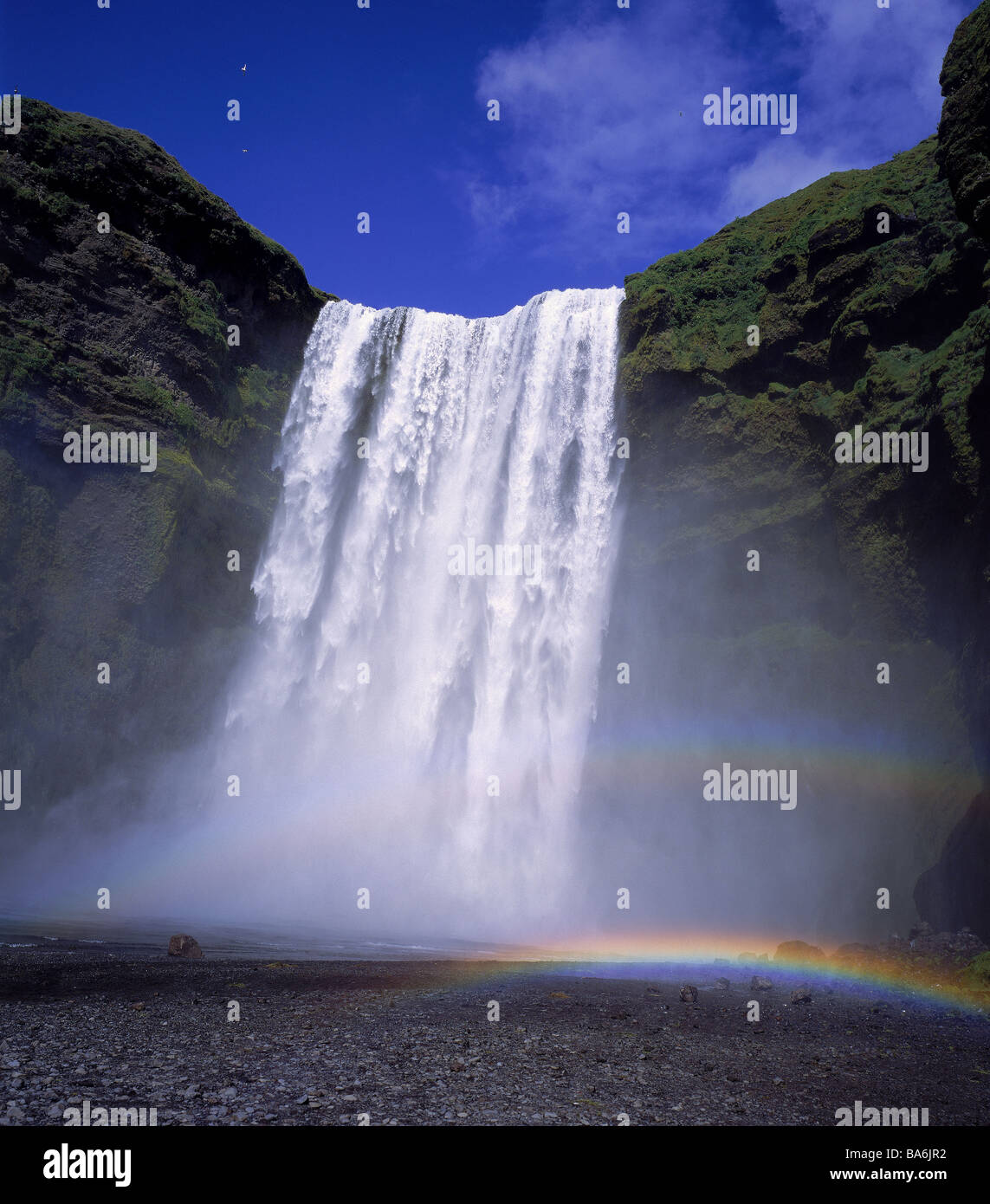 Skogafoss Wasserfall, South Coast, Island Stockbild