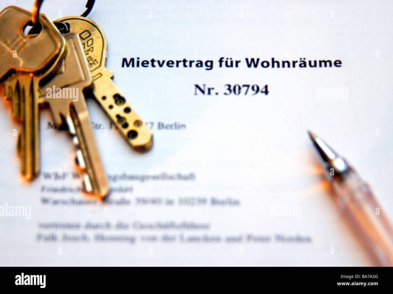 Lease Schlüssel Verband Kugelschreiber Detail Formular Vertrag