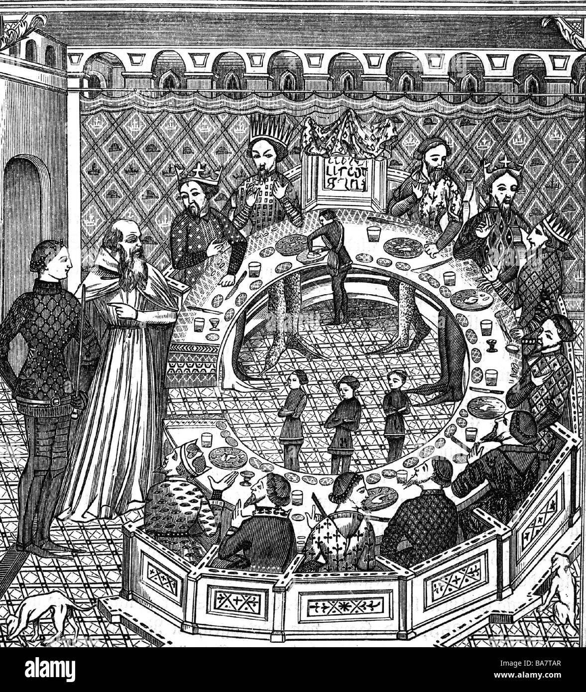 Arthur, legendärer britischer König, ca. 500 n. Chr., am runden Tisch, Holzgravur, 19. Jahrhundert, nach Miniatur, Stockfoto