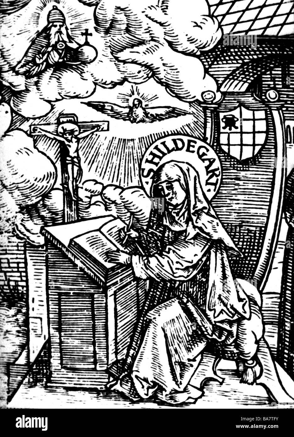 Hildegard von Bingen, ca. 1098 - 19.9.1179, Deutsche Heiliger, Nonne, Mystiker, Mittelalterholzschnitt, 1524, Stockfoto