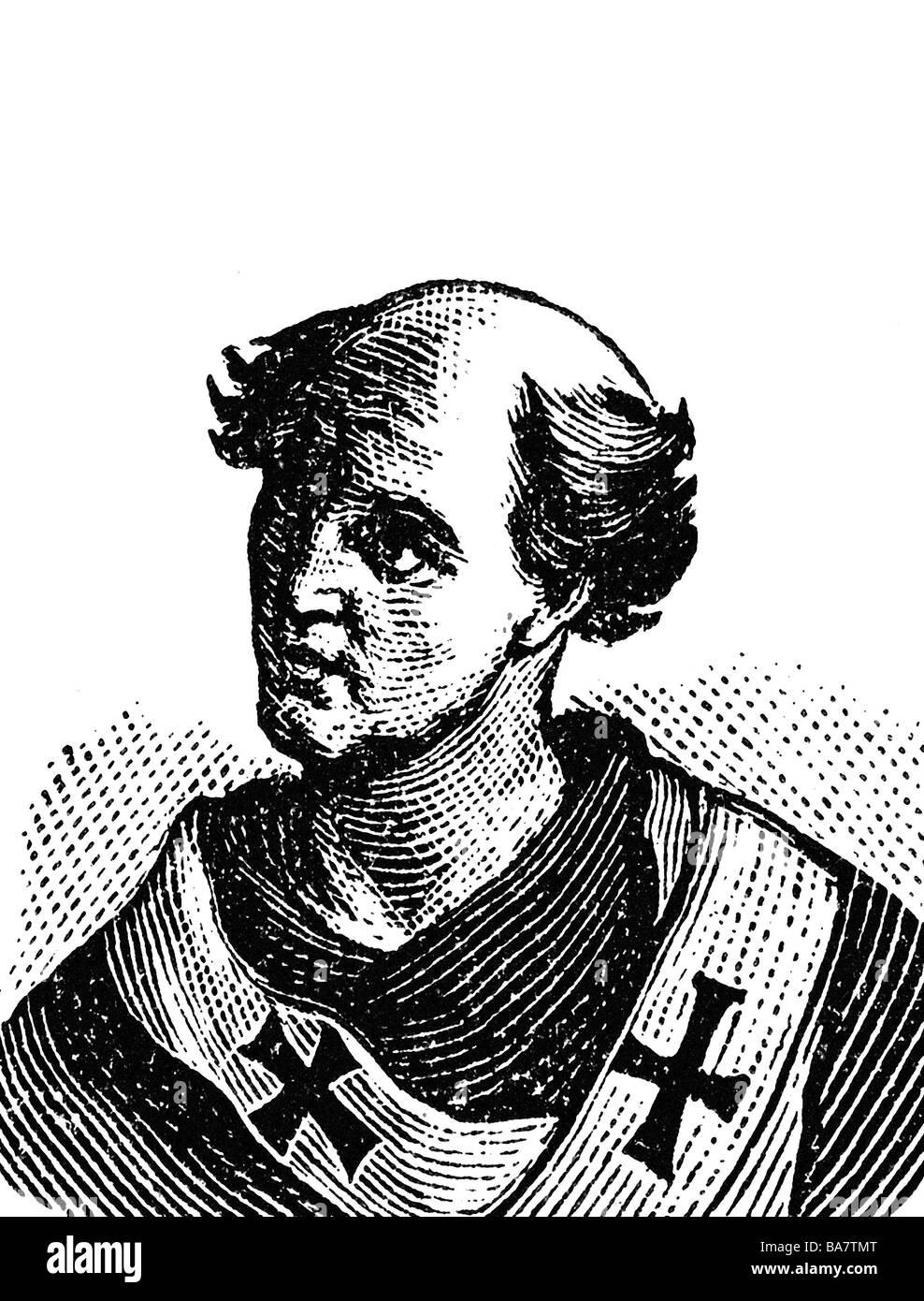 Valentine, + 1.9.827, Papst 30.8.827 - 1.9.827, Porträt, Holzstich, ca. 1900,, Additional-Rights-Spiel-NA Stockbild