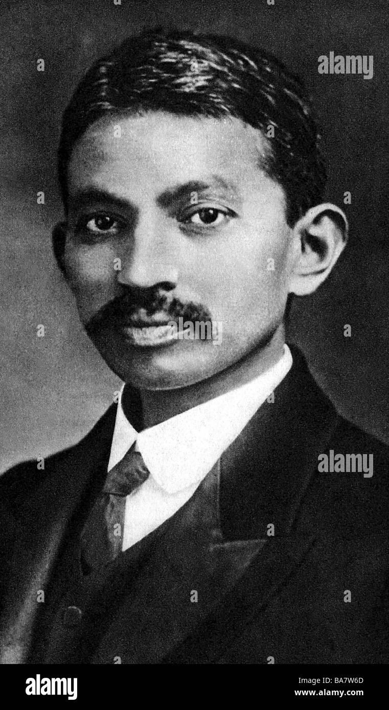 Gandhi, Mohandas Karamchand nannte Mahatma, 2.10.1869 - 30.1.1948, indischer Politiker, Porträt, als junger Mann, Stockfoto