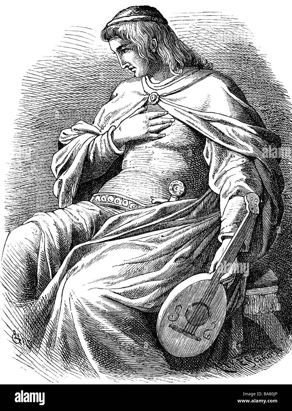Wolfram von Eschenbach, ca. 1175 - ca. 1220, Deutscher Ritter, Minnesänger, halbe Länge, Zeichnung von Stockbild