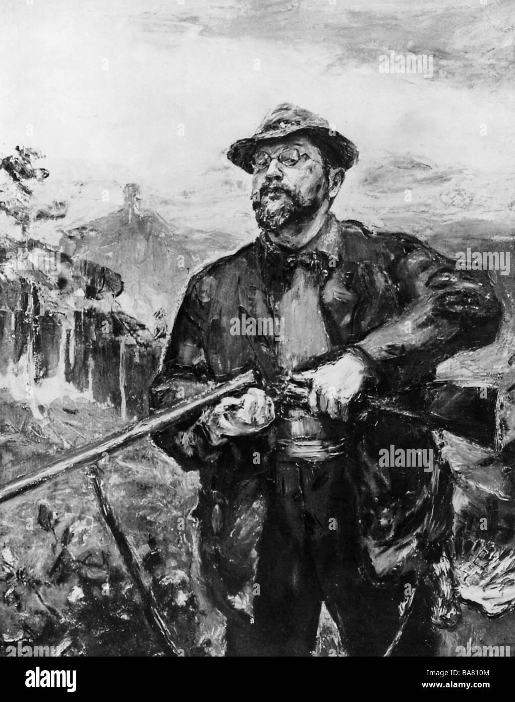 Slevogt, Max, 8.10.88 - 20.9.1932, deutscher Maler und Grafiker, halbe Länge, Selbstporträt als Jäger, 1907, Stockfoto