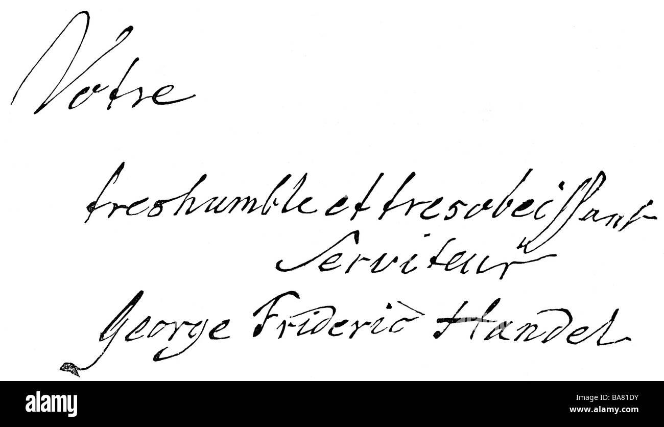 Händel, Georg Friedrich, 23.2.1685 - 14.4.1759, Deutscher Komponist, Handschrift, Holzstich, 19. Jahrhundert, Stockbild