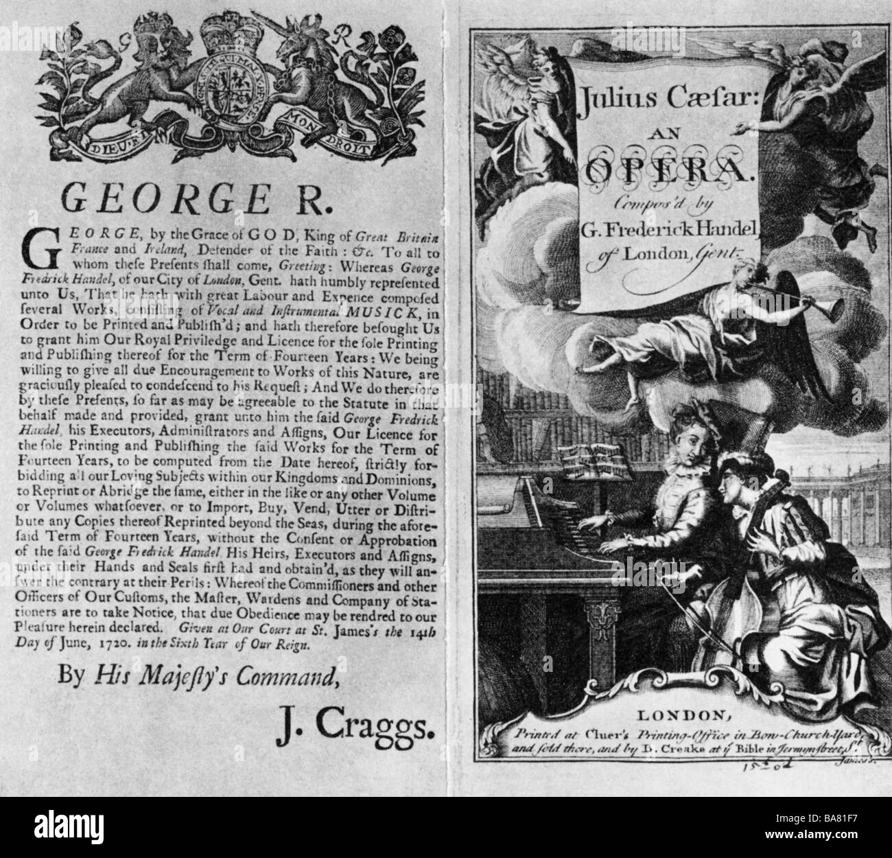 """Händel, Georg Friedrich, 23.2.1685 - 14.4.1759, Deutscher Komponist, Werke, Oper """"Giulio Caesare in Egitto"""" Stockbild"""