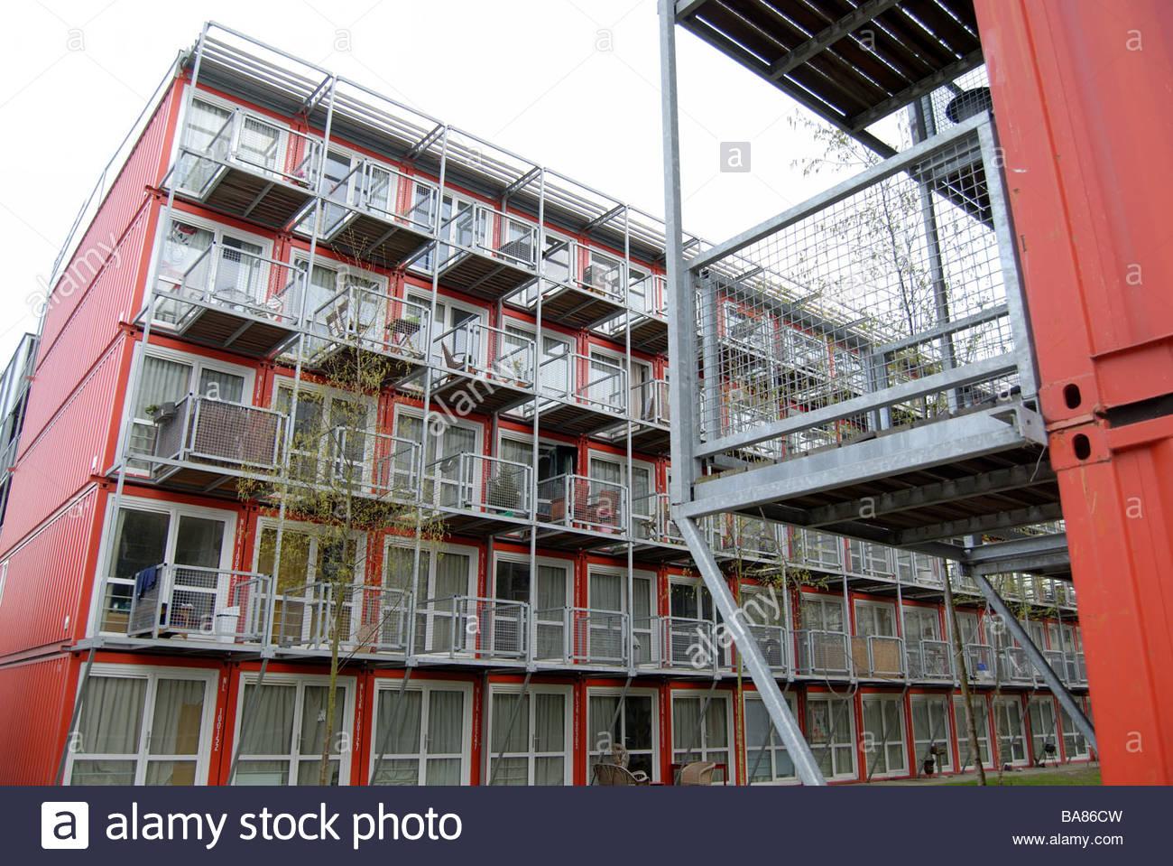 Amsterdam, die Niederlande Keetwonen, Studentisches Wohnen, behauptete, die größte Containerstadt in der Stockbild