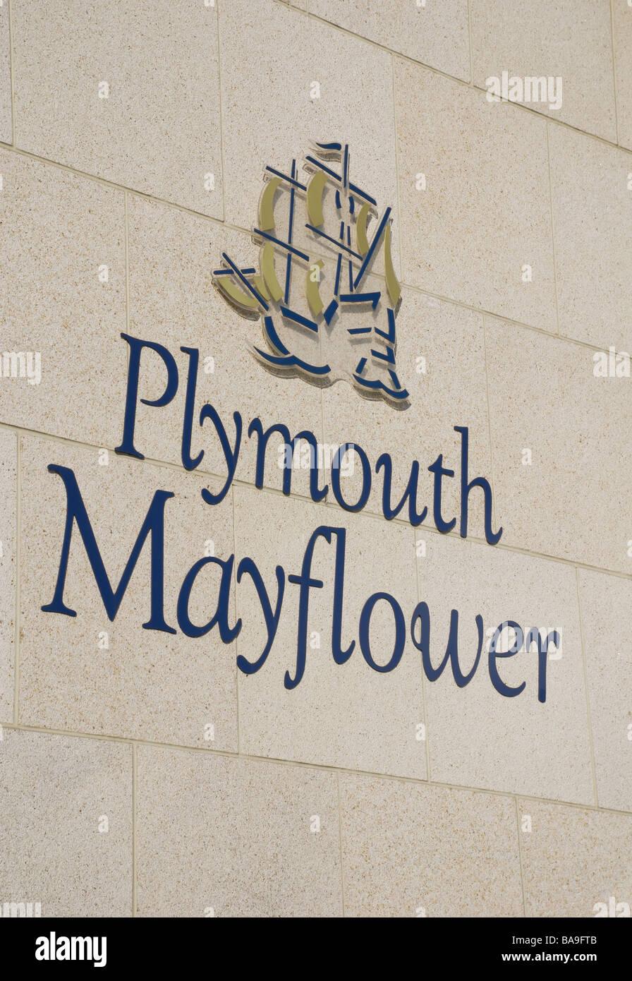 Plymouth Mayflower Schiff Zeichen, Barbican, Plymouth, Devon, UK Stockbild