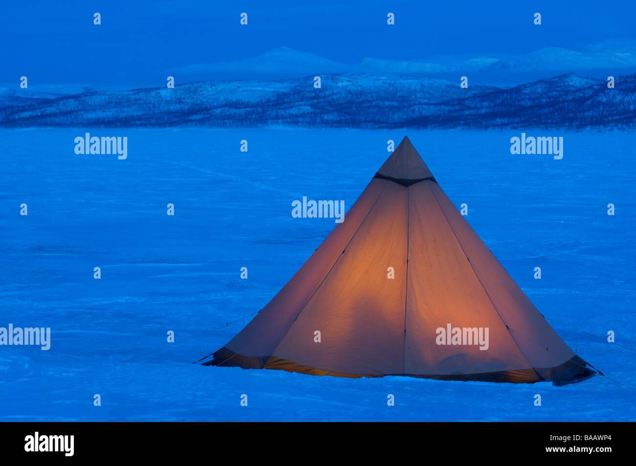 Winter-Camp in minus 40 Grad Celsius Stockbild