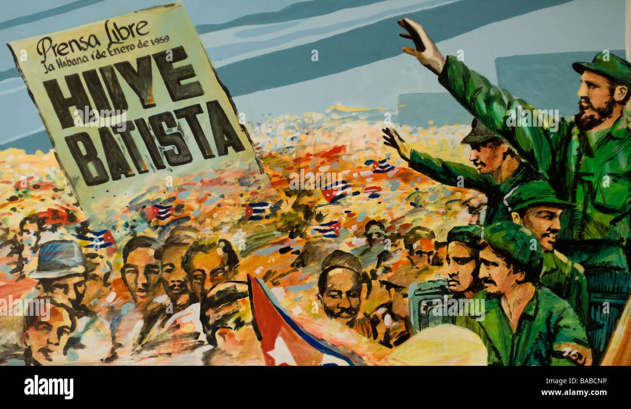 Gemälde von Fidel Castros Sieg in der kubanischen Revolution fand im Museum der Revolution, Havanna, Kuba. Stockbild