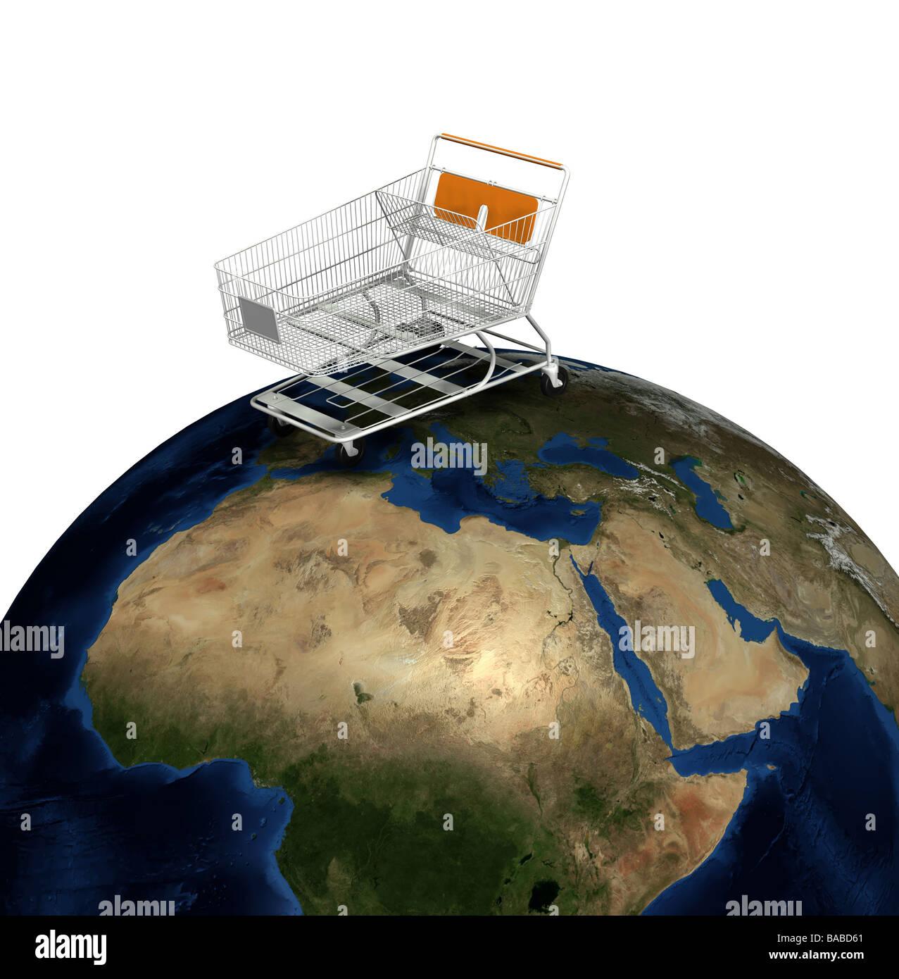 globale Warenkorb Stockbild