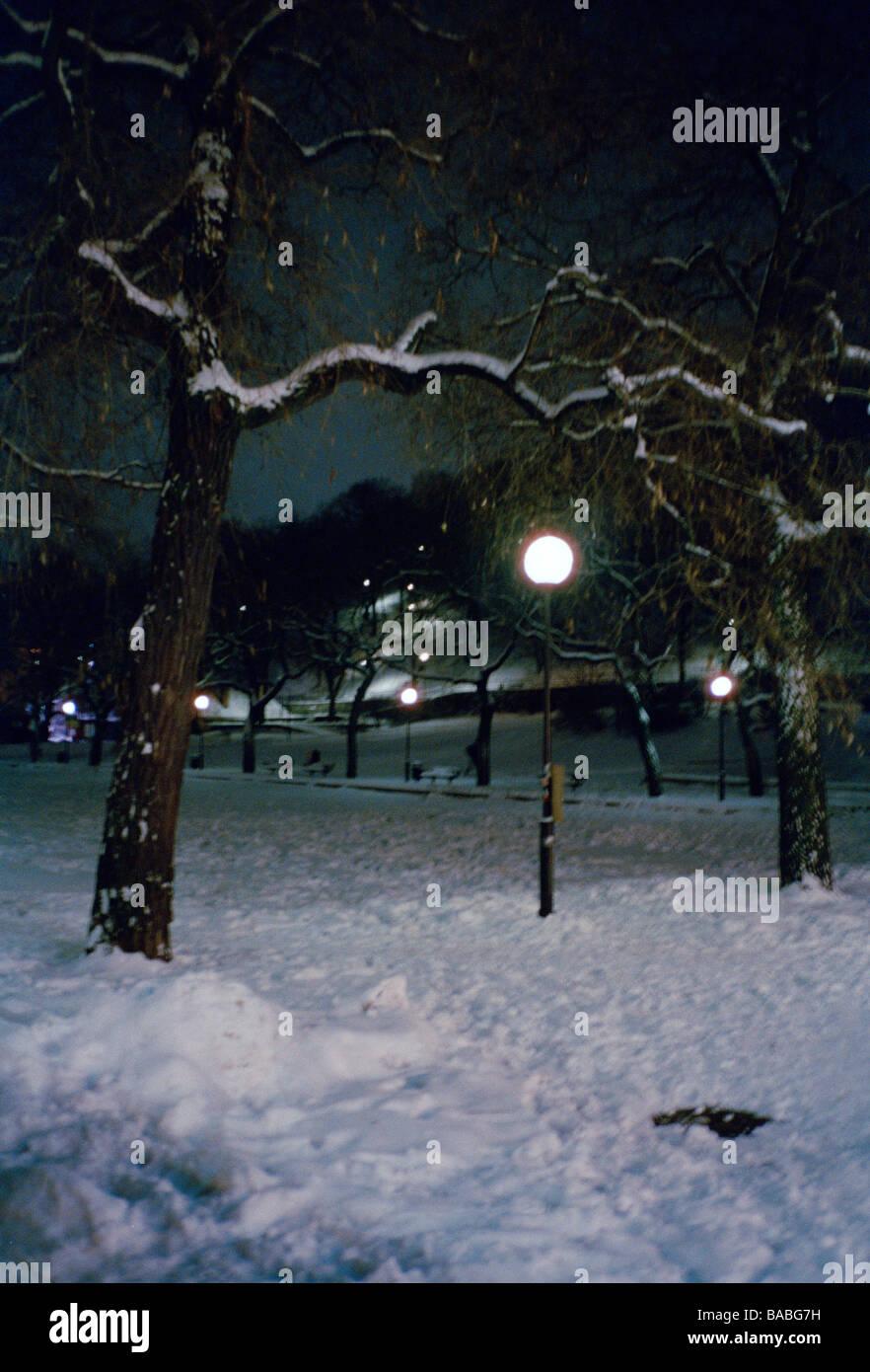 Straßenlaterne in einem Park Stockholm Schweden Stockfoto